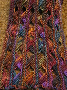 Koigu Cross Stitch Scarf pattern by DoublePointed Designs Easy Knitting, Loom Knitting, Knitting Stitches, Knitting Patterns, Crochet Patterns, Hairpin Lace Patterns, Knitted Shawls, Crochet Scarves, Knit Crochet