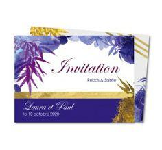 invitation mariage bouquet floral bleu et or
