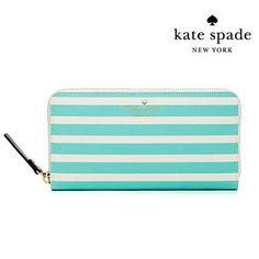 witusa   Rakuten Global Market: Kate spade Kate Spade long wallet FAIRMOUNT SQUARE LACEY (fresh air/cream) Lacey stripe wallet (largely) new genuine American purchase ladies wallet zip
