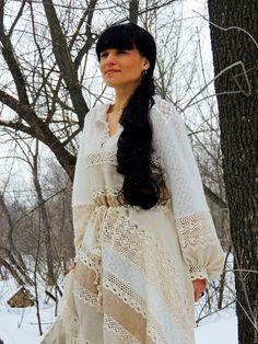 Купить Платье зимнее в стиле БОХО (№35) - комбинированный, платье макси, платье зимнее