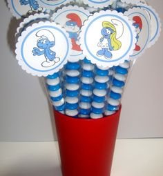 Smurf Theme Toppers, kids birthday party ideas by Crafty Party Creations. $21 for 24.