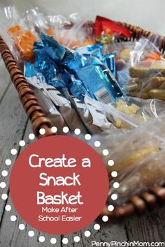"""Is this you? Do your kids burst through the door after school yelling """"I'm Hungry!!!""""? If so, then this post is for YOU!! Follow these tips to make your own snack basket in a matter of minutes to help your kids find something to eat quickly and easily!"""