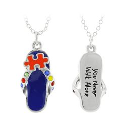 FREE Autism You Never Walk Alone Puzzle Flip Flop Necklace