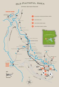 Old Faithful Area Trail Map - Yellowstone National Park