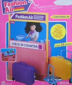 "Fashion Air Check In Counter Playset w 25+ Pieces - For Barbie & 11.5"" Fashion Dolls (1990 Meritus) by Meritus Industries. $189.99"