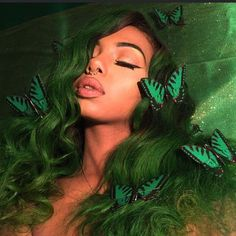 Preferred Human Hair Green Lace Front Wigs Wave Lace Wigs for Women Hair Inspo, Hair Inspiration, Green Wig, Green Hair Streaks, Black And Green Hair, Green Hair Girl, Lilac Hair, Soft Hair, Pastel Hair