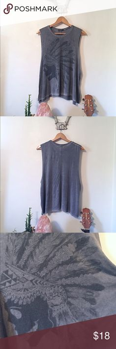 American Eagle Muscle Tee Very soft American Eagle Muscle Tee with #skull and #Indian #headress graphic. Worn look design on edges. No size tag. Fits medium-large. American Eagle Outfitters Tops Muscle Tees