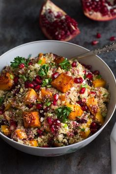 This Roasted Butternut Squash Quinoa Salad makes a great Thanksgiving side dish or healthy lunch option. This dish is naturally gluten-free and vegetarian. (leave off cheese & voila - vegan. Veggie Recipes, Whole Food Recipes, Vegetarian Recipes, Cooking Recipes, Healthy Recipes, Quinoa Salad Recipes, Dinner Recipes, Pumpkin Recipes, Vegan Recipes