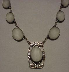Art Deco Art Nouveau Sterling Silver Rock Crystal Quartz Pendant Necklace