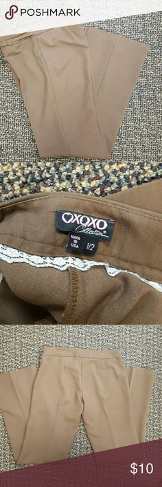⭕BOGO 50% OFF⭕ XOXO Brown Slacks XOXO brown slacks. In great condition. No pockets on the slacks. The second picture shows their true color. Size 1/2 Waist: 15 Inseam: 33 Length: 39 1/5 Leg opening: 9 1/2 70% polyester, 26% rayon and 4% spandex. XOXO Pants Straight Leg