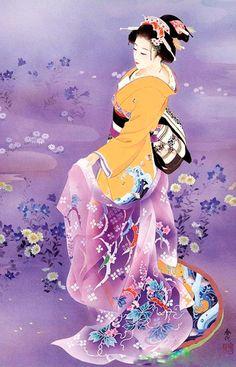 Painting of a Geisha Japanese Geisha, Japanese Kimono, Geisha Japan, Art Geisha, Geisha Anime, Purple Tattoos, Asian Artwork, Art Asiatique, Art Japonais