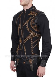 Look at that gear detail! Hand embroidered over black on this awesome authentic mens corset. The Violet Vixen - Blitzspark Gearworks Corset, $242.00 (http://thevioletvixen.com/clothing/mens/mens-corsets/blitzspark-gearworks-corset/) corset steel boned authentic mens steampunk gears gold black