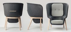 London designer Benjamin Hubert launched this chair with a pressed-felt shell at Ventura Lambrate in Milan last month.The 'Pod' is a large privacy chair for breakout areas in offices or residential projects. Most upholstery is difficult to recycle as it's a fixed combination of timber, glue, foam and textile.Pod tackles this by replacing the large upholstery with moulded felt created from recycled PET bottles.