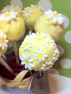 Lemon Daisy cake pops. Perfect for birthdays or Mother's Day!