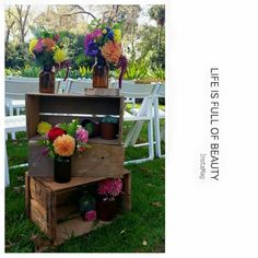 Colourful wedding flower crates fitzroy gardens