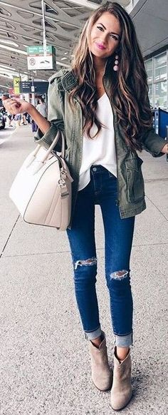Utility Jacket + White Blouse + Ripped Denim