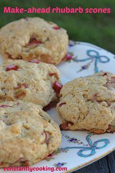 Make-ahead rhubarb scones – Constantly Cooking Rhubarb Cookies, Rhubarb Scones, Fruit Scones, Rhubarb Desserts, Rhubarb Recipes, Rhubarb Ideas, Brunch Recipes, Sweet Recipes, Breakfast Recipes