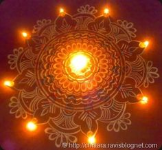 Diwali rangoli with chalk-powder