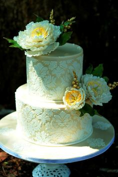 """Compassion""  wedding cake '-  gorgeous stenciling and open sugar  peonies ~  all edible"
