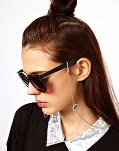 ASOS Evil Eye Sunglasses Chain at ASOS. Shop this season's must haves with multiple delivery and return options (Ts&Cs apply). Eyeglass Holder, Asos, Fabric Necklace, Engagement Jewelry, Statement Jewelry, Beautiful Necklaces, Eyeglasses, Eyewear, Bff Rings