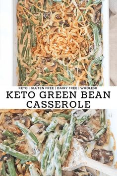 A healthy take on the classic Thanksgiving dish. With fresh green beans in a low-carb homemade mushroom cashew cream sauce topped with caramelized onions. This Keto Green Bean Casserole is gluten free, dairy free, paleo and compliant. Low Carb Side Dishes, Healthy Side Dishes, Side Dish Recipes, Healthy Food, Kitchen Recipes, Paleo Recipes, Real Food Recipes, Lunch Recipes, Free Recipes