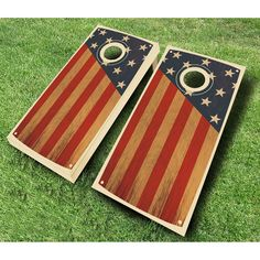 Enjoy a fun American pastime in patriotic style with the AJJ Cornhole Colonial Chestnut Stained Cornhole Set . The two boards feature vinyl decals with. Cornhole Set, Cornhole Boards, Cornhole Designs, Corn Hole Game, Stain Colors, American Flag, Colonial, Vinyl Decals, Outdoor Blanket