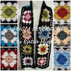 A MAGIA DO CROCHÊ: Cachecol Colorido feito em lã