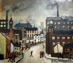 London Road, Stockport by William Ralph Turner (1920-2013), British--was the last of the great Northern Industrial painters - One of his most individual qualities has been the ability to paint Manchester's most drab industrial area with a palette and handling of pigment associated with the Parisian paintings of Vlaminck (Gateway gallery)