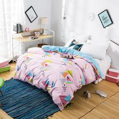 100% cotton pink Duvet cover single bed for kids boy/girl double/queen/king size Geometric/floral quilt cover beddengoed