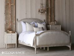 "Eloquence's Dauphine Queen Bed with elegant Swedish Arching frame. Hand-finished in our Beach House Natural and upholstered in Fog Linen. 10 yards to re-upholster. Also available as a heavenly <a href=""http://www.thebellacottage.com/dauphine-canopy-four-poster-bed-in-beach-house-natural.html"">Canopy</a> bed.  <BR><BR> • Wood, Fog Linen Fabric<BR> • Beach House Natural Finish<BR> • For King frame use Standard Size Eastern King Mattress ..."