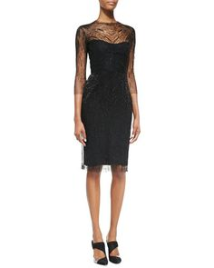 A subtly shimmering cocktail dress with an elegant jewel illusion neckline is a must for a formal apres-work affair.