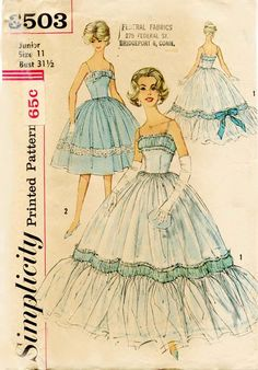 Simplicity 3503-1960s Cinderella Prom Gown