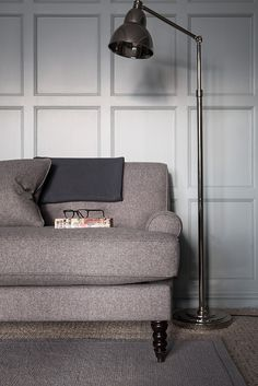 George sofa with Brompton floor lamp #neptune #contemporaryliving www.neptune.com. Floor lamp £335!