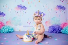 Cake Smash unicorn birthday Happy Birthday! Unicorn Headband: www.thedaintymiss.bigcartel.com Unicorn Outfit: www.coraandviolet.com Image by Heaven Sent Photography http://www.heavensent-photography.com