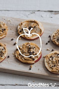 Slice up an easy plate of serious after-school fuel with this quick no-bake Apple Cookies recipe—featuring peanut butter, granola, and Nestlé® Toll House® Mini Morsels. See more at GoodNes.com.