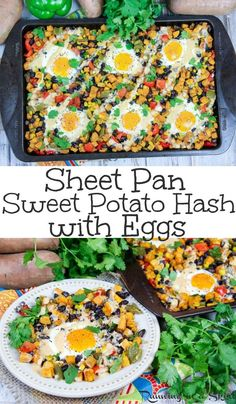 Healthy Sheet Pan Southwest Sweet Potato Hash with Eggs recipe - Perfect for breakfast, brunch or dinner. Uses veggies and black beans for a one pan meatless monday meal. A simple and fun way to start mornings and a twist on a classic breakfast casserol Vegetarian Brunch, Clean Eating Vegetarian, Clean Eating Dinner, Healthy Eating Habits, Healthy Eating Recipes, Vegetarian Recipes, Healthy Food, Vegetarian Dinners, Healthy Meals