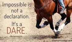 """""""Impossible is not a declaration. It's a dare."""" —Muhammad Ali"""