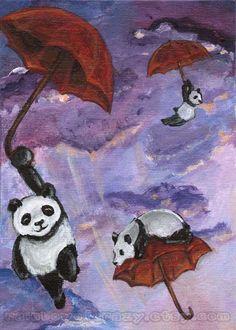 Panda Art Print Umbrella Flying Animal Illustration Sky Clouds