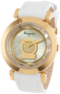 Salvatore Ferragamo Women's FQ4030013 Minuetto Gold Ion-Plated Coated Stainless Steel Mother-Of-Pearl Dial Diamond Watch