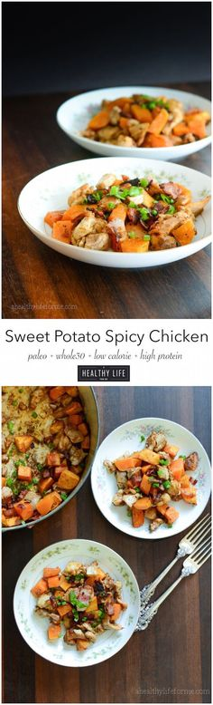 Sweet Potato Spicy Chicken is a recipe to impress. A dinner recipe that is easy and packed full of rich flavor that is sure to make the whole family happy. Gluten Free Dairy Free Soy Free and Paleo.- A Healthy Life For Me Sweet Potato Spicy C High Protein Recipes, Paleo Recipes, Real Food Recipes, Chicken Recipes, Cooking Recipes, Healthy Chicken, Atkins Recipes, Parmesan Recipes, Quick Recipes