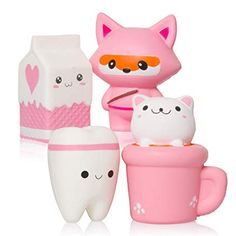 Set of 4 squishy toys, keyring & stickers! Kawaii cute party gifts, squishys for girls and boys!