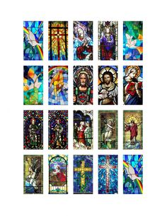 Church Stained Glass Windows 1 x 2 inch by AllMyFavoriteThings3