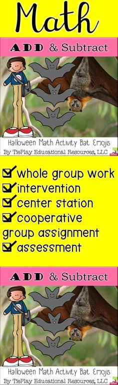 Halloween can be an especially fun theme with bat emojis. In Bat Emoji Add or Subtract 10 or 100, learners answer mental math questions in an activity. A black and white print version is available here. Autumn Activities, Math Activities, Teaching Materials, Teaching Resources, Halloween Cans, Math Questions, Fall Cleaning, Third Grade Math, Cooperative Learning