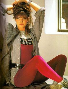 Red unitard retro clothing, vintage clothing, vintage outfits, elle f. 1980s Fashion Trends, Elle Fashion, 80s And 90s Fashion, Retro Fashion, Fashion Models, Cheap Fashion, Fashion Women, High Fashion, Sporty Fashion