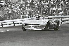 Jim Hall drives his new Chaparral 2 during the 1963 L.A. Times GP at Riverside. Hall would take the pole and was running away from the field when an electrical fire in the dash forced him to stop. Dave Friedman photo.