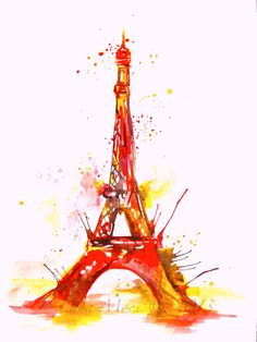 Pink Eiffel Tower Print from Original Watercolor Paris Illustration - Pink Cityscape