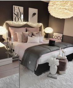 Cozy Home Decorating Ideas for Girls' Bedrooms These bedroom ideas will look great and provide you with the relaxing haven that you need. Read more to discover bedroom decorating ideas that are sure to inspire you… Cute Bedroom Ideas, Cute Room Decor, Girl Bedroom Designs, Room Ideas Bedroom, Home Decor Bedroom, Girls Bedroom, Bedroom Furniture, Bedroom Curtains, Master Bedroom
