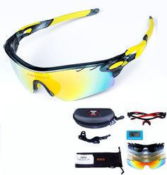 2210f69eb45 OBAOLAY TR90 Glasses with 5 Lens PC Windproof Anti-UV Polarized for Outdoor  Sports Riding