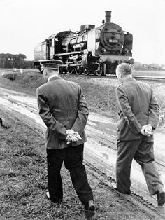 Hitler and Foreign Minister Joachim von Ribbentrop with the locomotive of the special train during the Poland campaign - September 1939