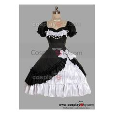 Black And White Satin Yarn Lolita Dress ❤ liked on Polyvore